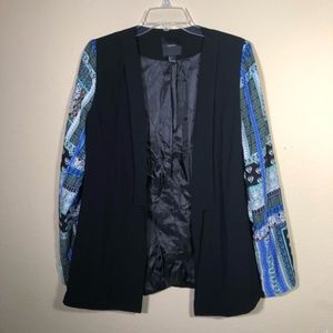 Forever 21 Black Patch Print Sleeves Blazer Duster
